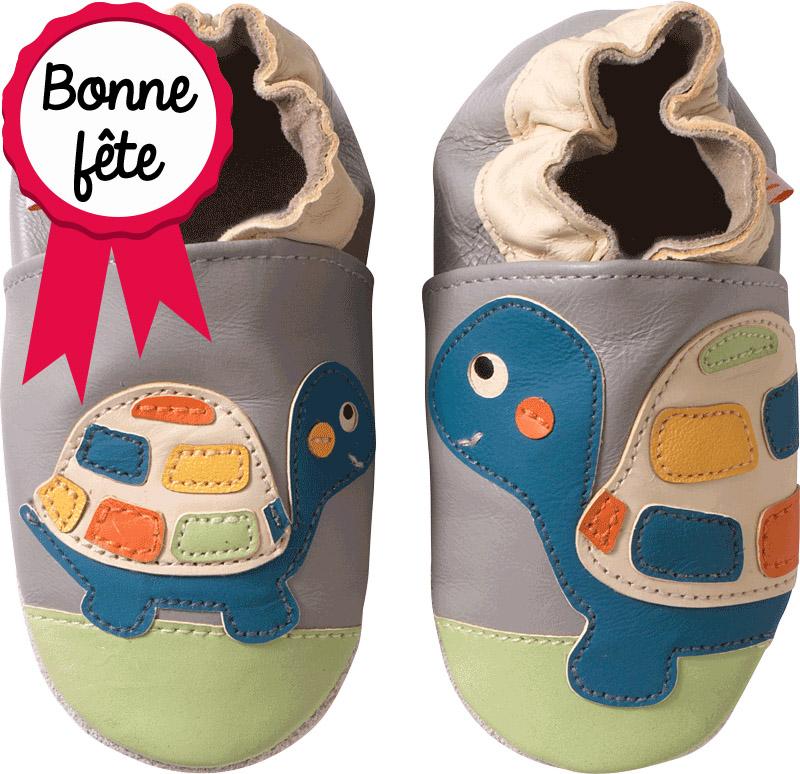 chausson-bébé-cuir-souple-les-tortues-face-800 cocarde